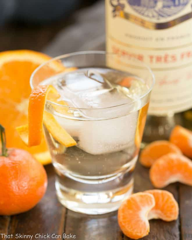 A glass of Lillet French Aperitif with an Orange Twist