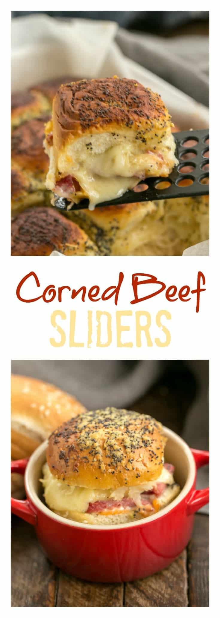 Corned Beef Sliders | All the fabulous flavors of a Reuben Sandwich in a slider! #cornedbeef #sandwich #sliders #Reuben #StPatricksDay
