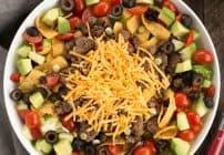 Beef Taco Salad with Salsa Dressing #SundaySupper