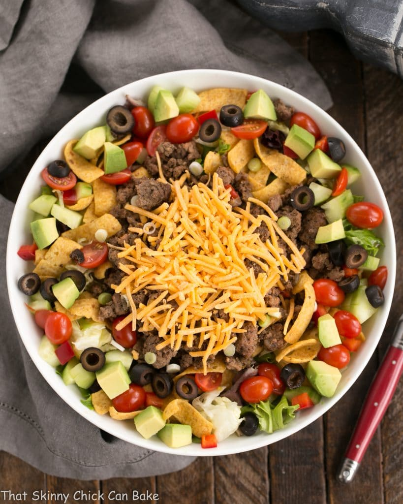 Beef Taco Salad with Salsa Dressing