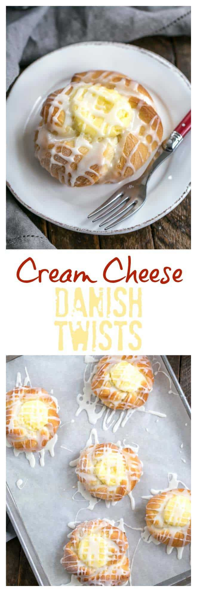 Danish Twists with Cream Cheese Filling - tender, sweet yeast bread twists with a luscious cream cheese filling #breakfast #brunch #danish #creamcheese