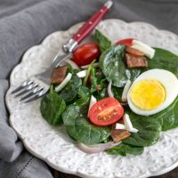 Easy Spinach Salad with Bacon, Eggs and Tomatoes