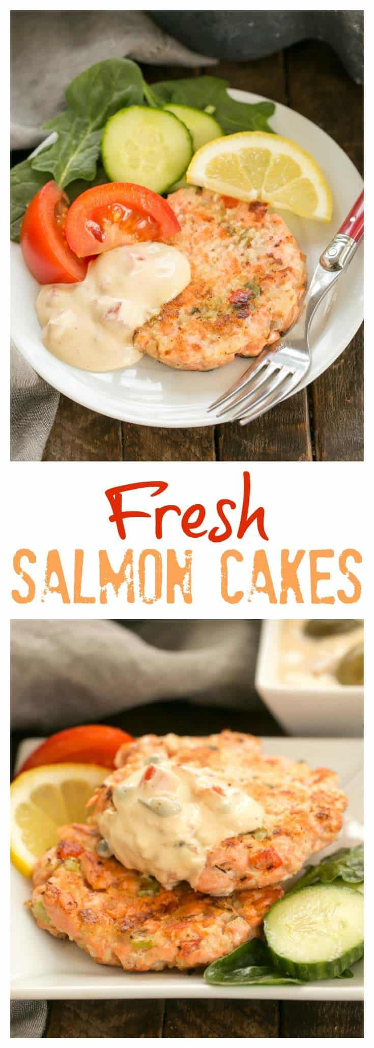 Fresh Salmon Cakes with Homemade Remoulade - Ditch the canned salmon and make these flavorful salmon cakes from scratch! #salmon  #seafood #remoulade