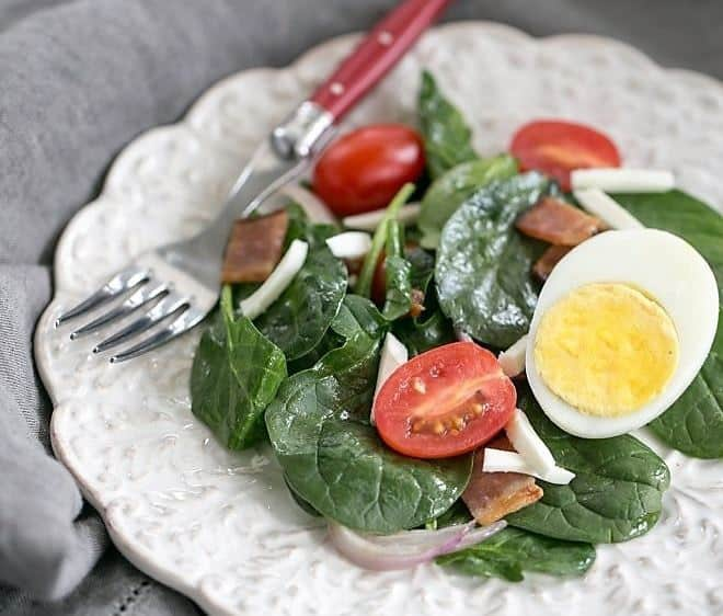 Easy Spinach Salad with Bacon, Eggs and Tomatoes - a 70's classic with a modern twist