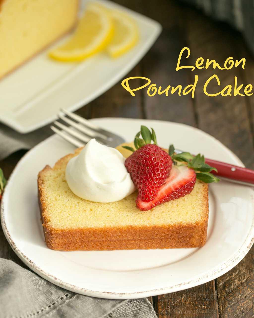 Glazed Lemon Pound Cake - served with whipped cream and berries for a delightful #citrus dessert #lemon #poundcake