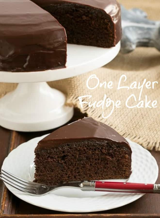 One Layer Fudge Cake -  Rich, delectable and perfect when you don't need to feed a crowd! #fudgecake #ganache #onelayer #chocolate