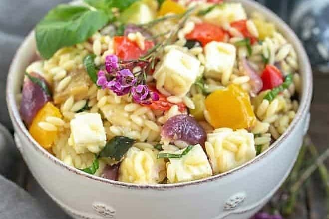 Roasted Vegetable Salad with Orzo, Mozzarella and Basil featured image