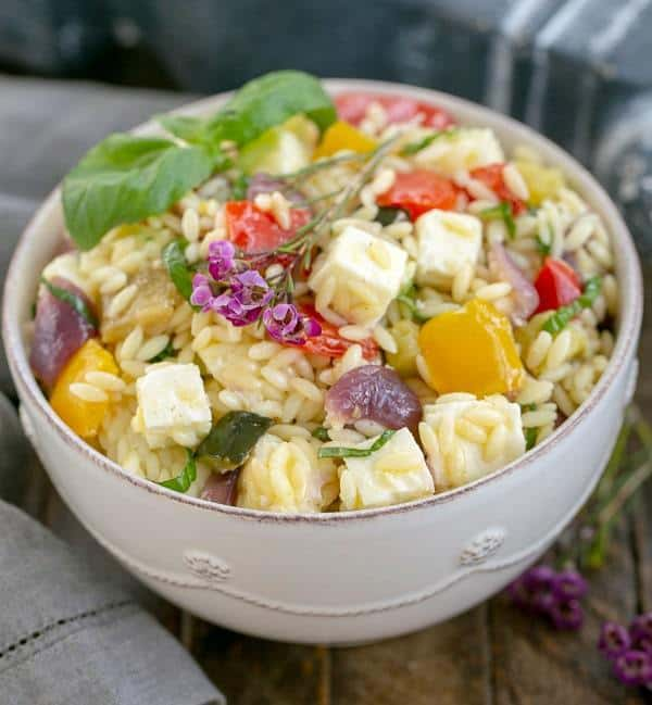 Roasted Vegetable Salad with Orzo, Mozzarella and Basil - a delicious pasta salad that's perfect for any gathering!