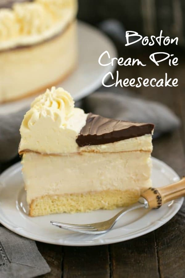 Boston Cream Pie Cheesecake - when cake, cheesecake, custard and ganache combine for an exquisite dessert #dessert #chocolate #bostoncreampie #cheesecake