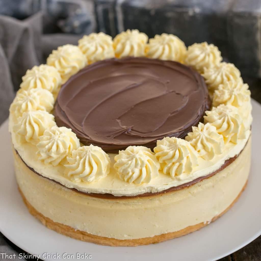 Boston Cream Pie Cheesecake - when cake, cheesecake, custard and ganache combine for an exquisite dessert