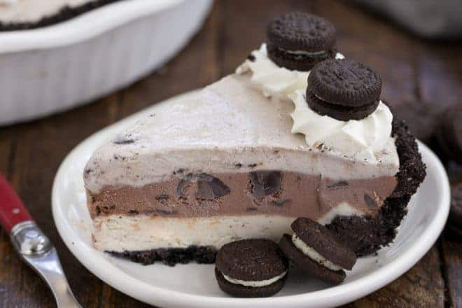 Layered Ice Cream Pie with Chocolate Cookie Crust - an easy no-bake frozen dessert that's perfect for summer!