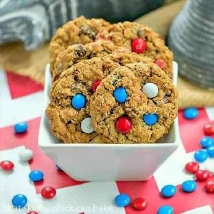 Patriotic Monster Cookies in a white square bowl