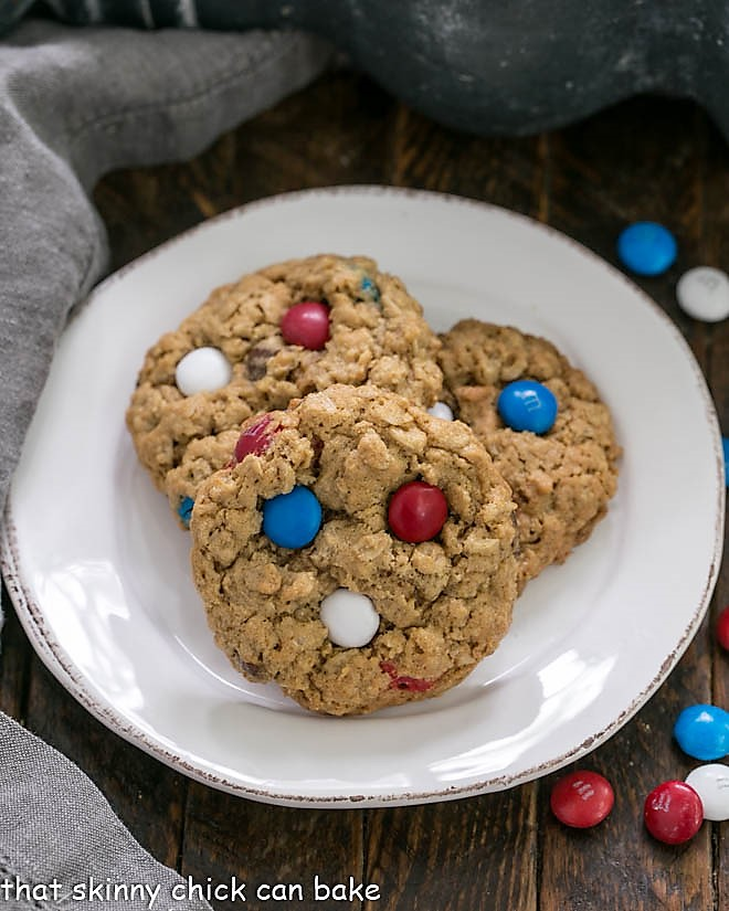 Patriotic Monster Cookies on a small round white plate