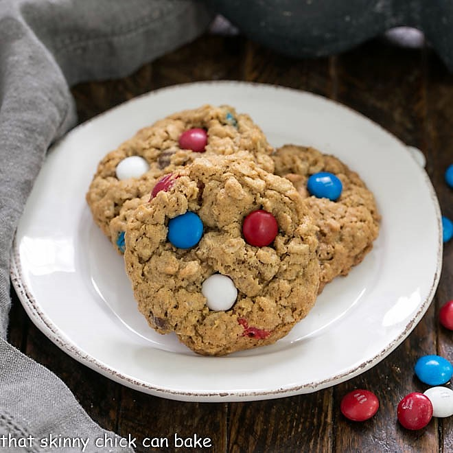 Patriotic Monster Cookies on a round white plate