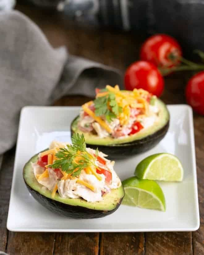 Southwestern Chicken Stuffed Avocados - Delicious, low-carb convenience food