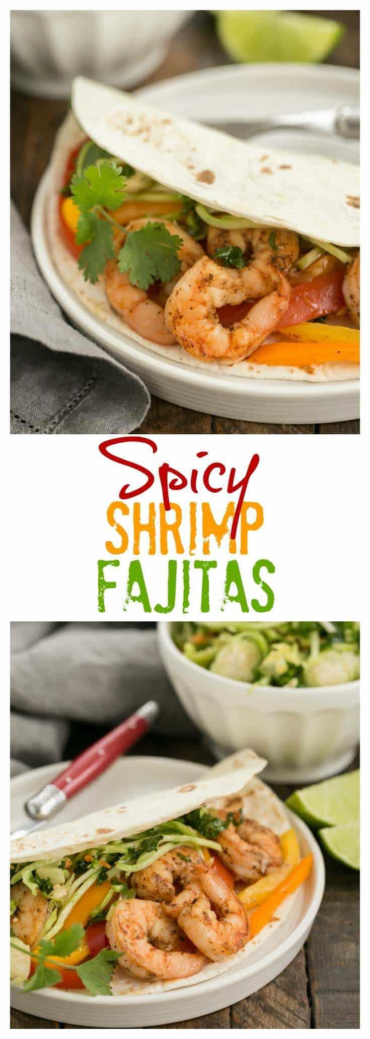 Spicy Shrimp Fajitas - an easy seafood recipe with a southwest flair #texmex #fajitas #shrimp