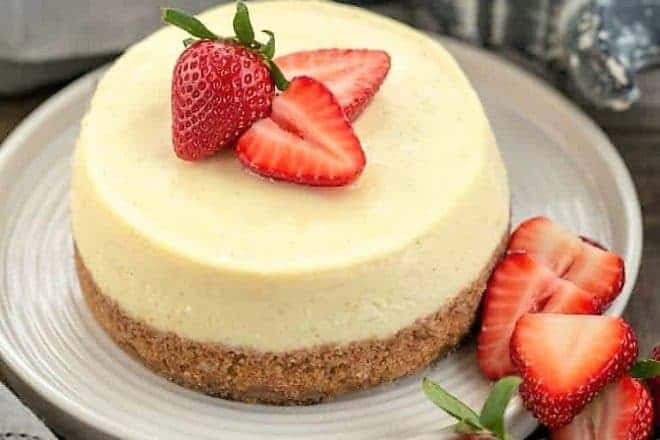 Vanilla Bean Instant Pot Cheesecake on a white plate