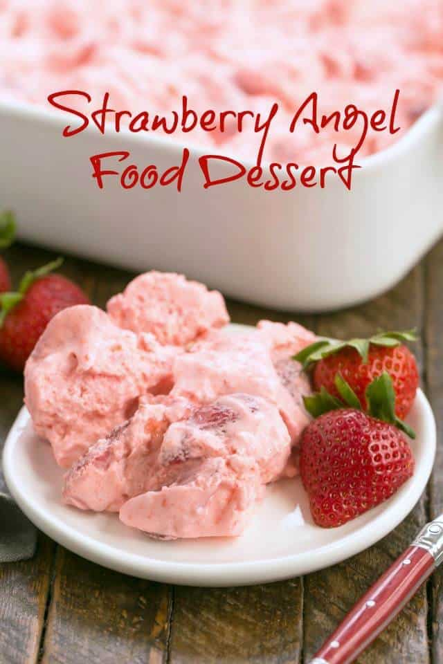 Strawberry Angel Food Dessert - a no bake dessert with angel food cake cubes, strawberries and cream! #nobake #dessert #strawberry #angelfood