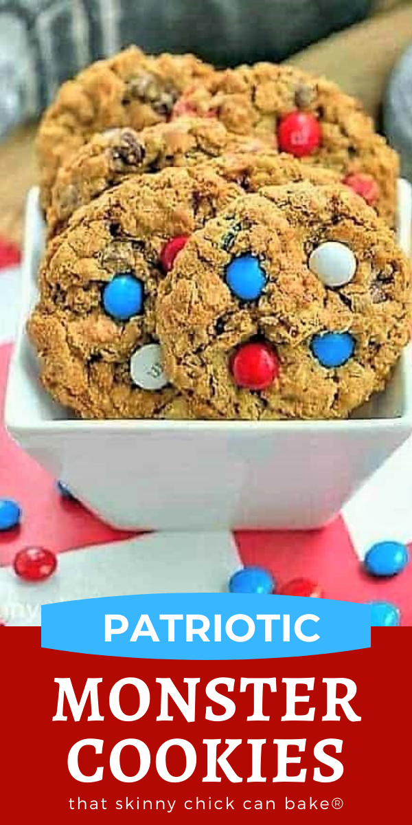 Patriotic Monster Cookies photo and text collage