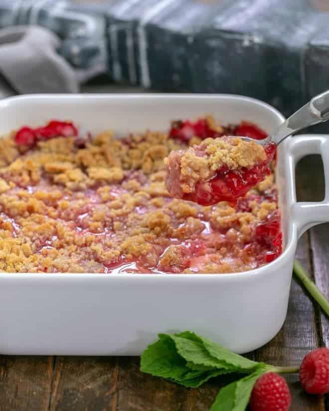 Fresh Raspberry Crisp in a square white casserole dish