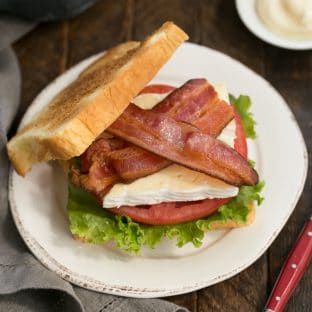 Brie Bacon Lettuce and Tomato Sandwich - A BLT sandwich with creamy French Brie!