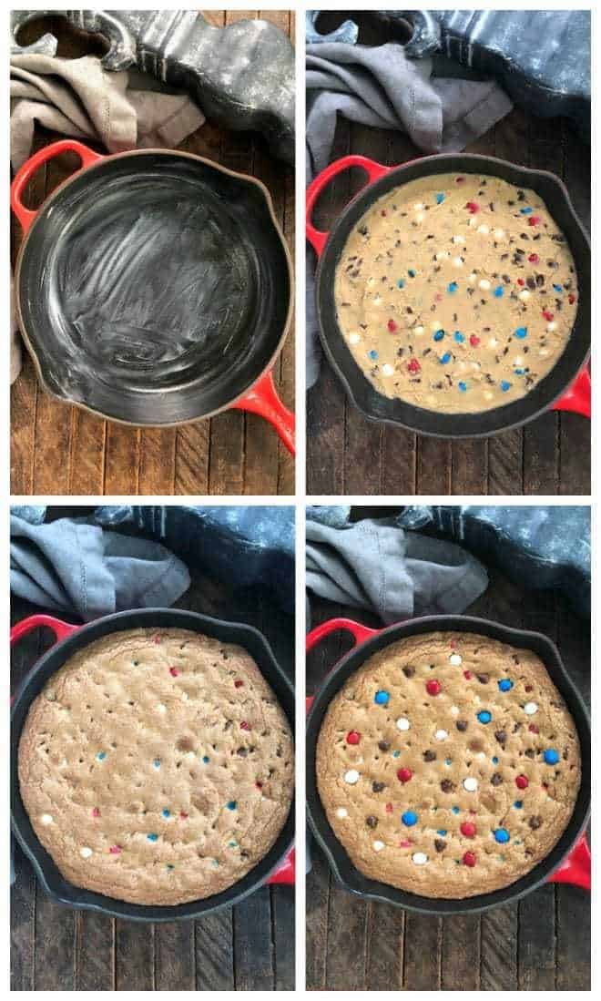 Step by Step photos of Patriotic Skillet Cookie