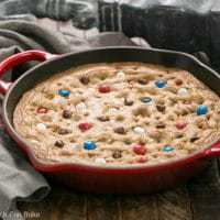 Patriotic Skillet Cookie - a chewy chocolate chip cookie cake decked out with red, white and blue M&M's