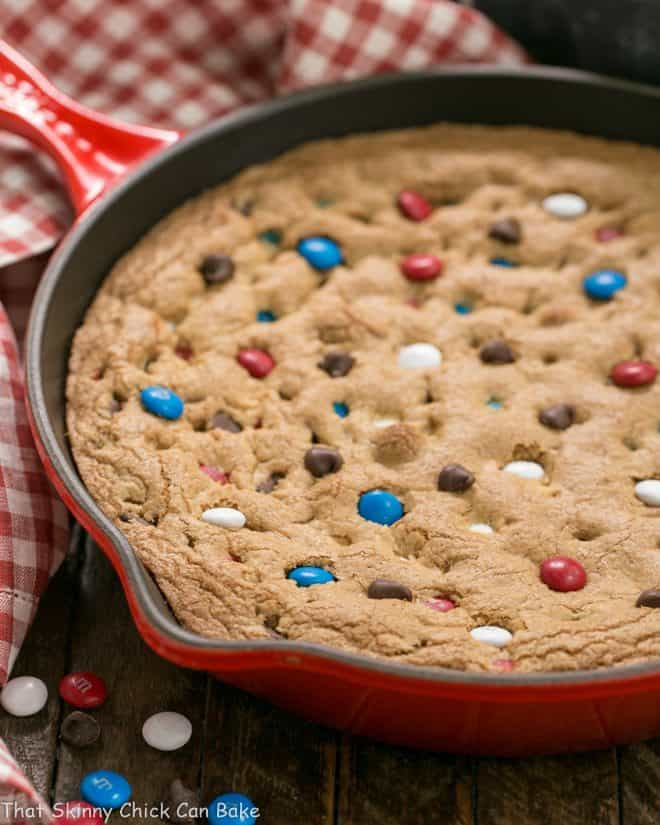 Patriotic Skillet Cookie  in a red cast iron skillet