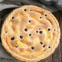 Peach Blueberry Custard Pie - A one crust peach pie speckled with blueberries