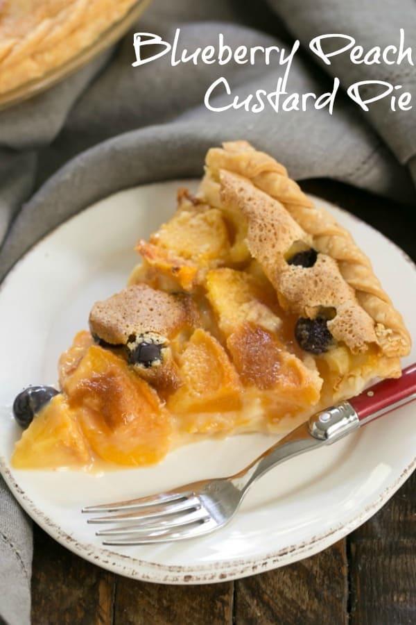 Blueberry Peach Custard Pie - A one crust peach pie speckled with blueberries #peachpie #blueberries #custardpie #summerdessert #easypeachpie #georgiapeaches