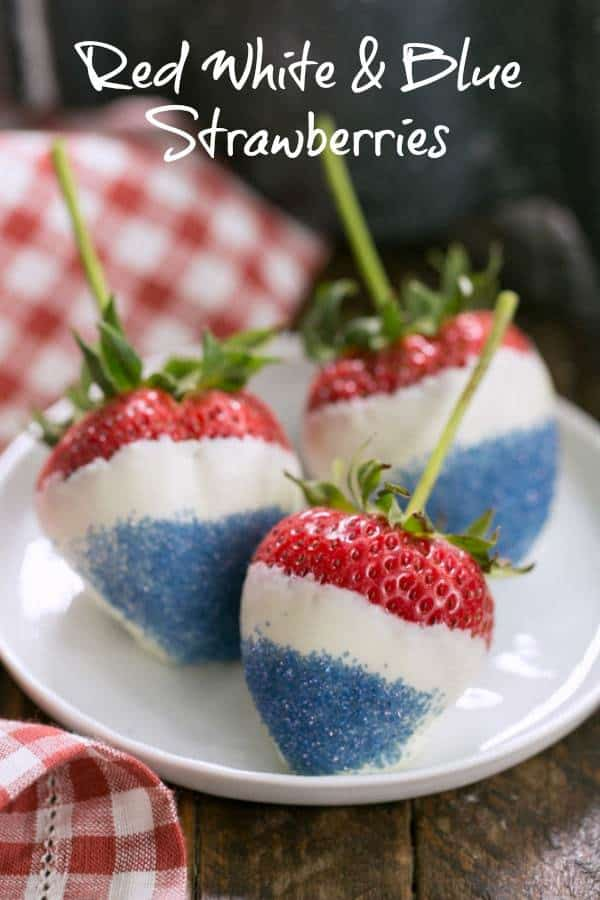 Red White and Blue Strawberries - An easy, festive, 3 ingredient, patriotic dessert! #strawberries #easydessert #patrioticdessert #redwhiteandbluedessert