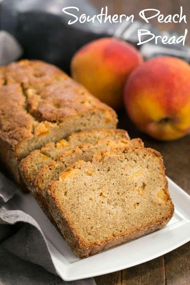 Fresh Southern Peach Bread - a cinnamon spiced quick bread chock full of diced peaches! #peaches #quickbread #peachloaf #georgiapeaches #summerrecipe