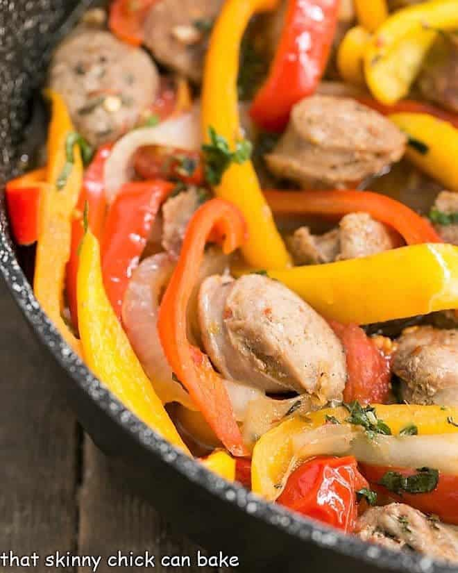 Close view of Italian Sausage and Peppers in a skillet