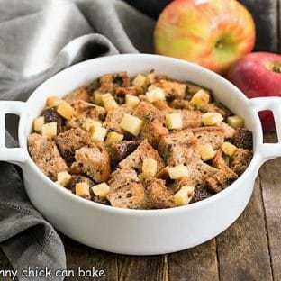 Gluten Free Apple Cinnamon Bread Pudding in a small casserole dish