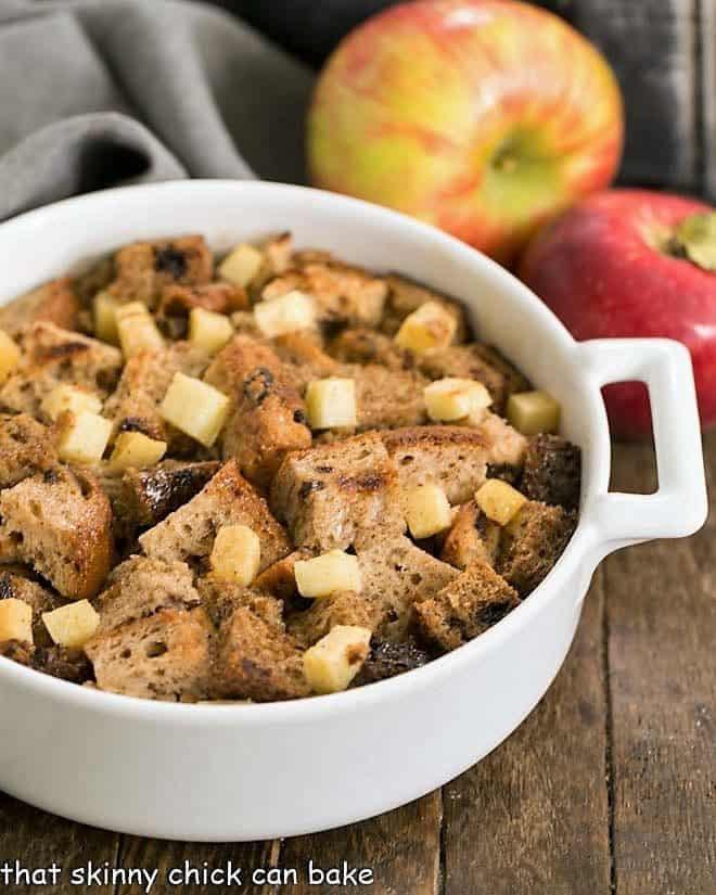 Gluten Free Apple Cinnamon Bread Pudding in a white ceramic casserole