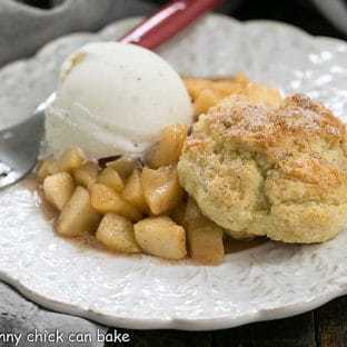 Old-Fashioned Apple Cobbler - with cinnamon spiced apples and a tender buttermilk biscuit crust!