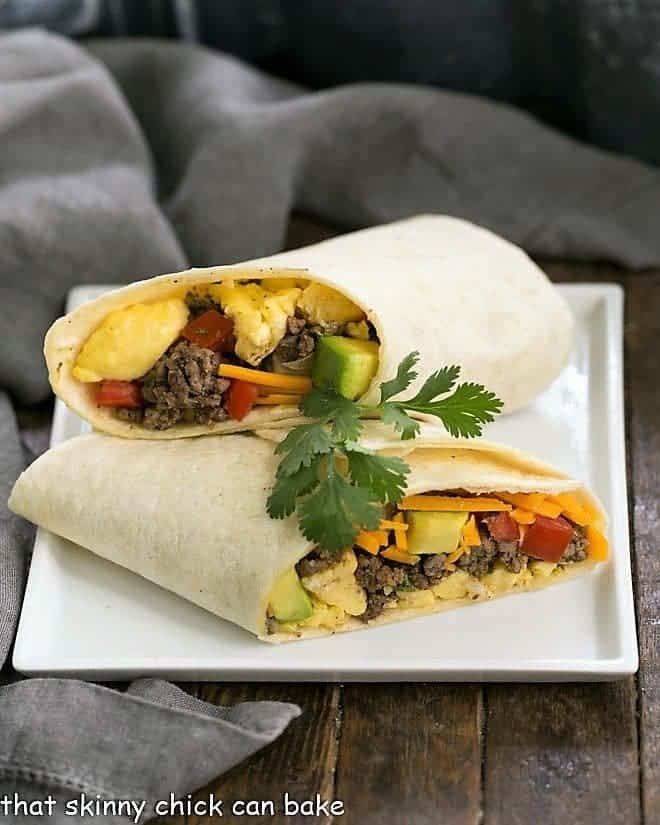 Tex-Mex Breakfast Burritos on a square white plate