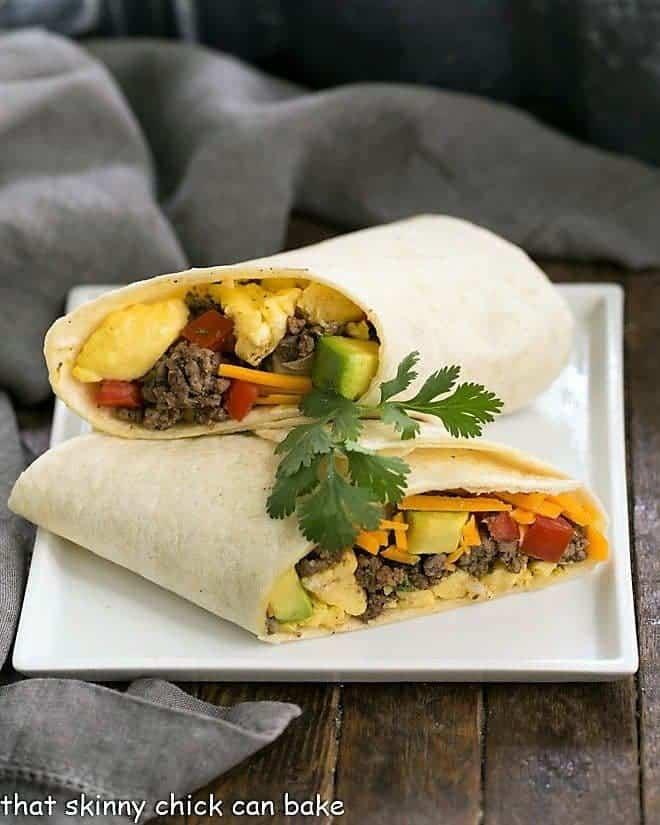 Tex-Mex Breakfast Burritos on a square white plate