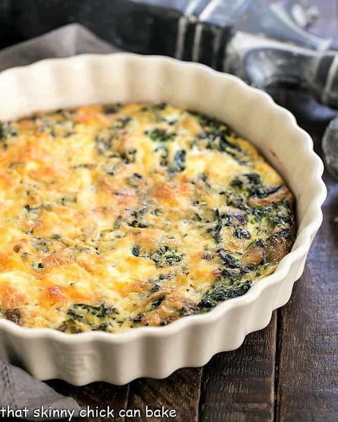 Crustless Spinach Quiche in a ceramic dish