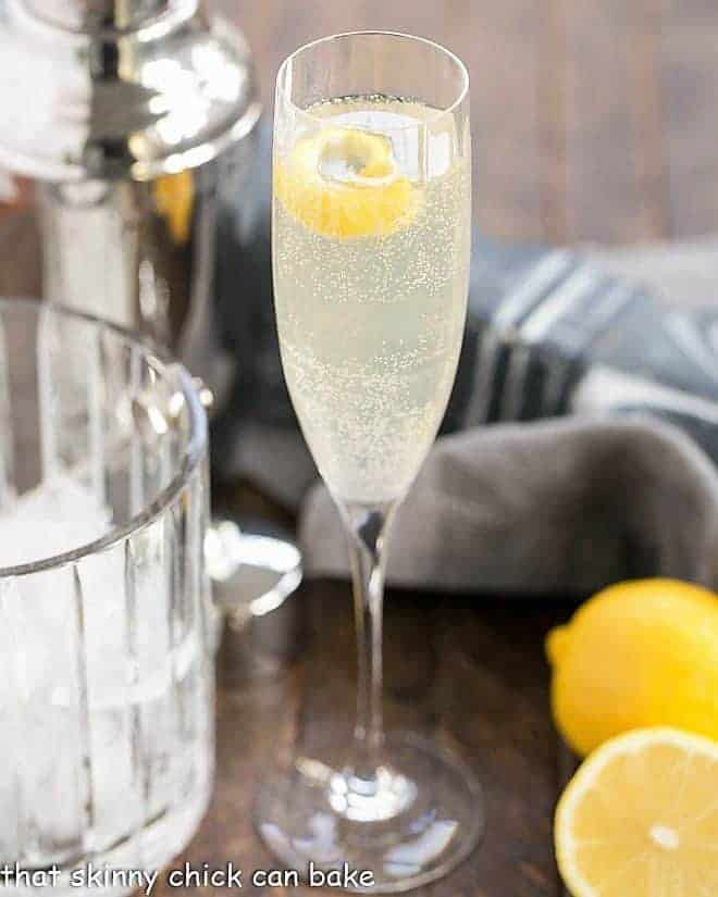 French 75 Champagne Cocktail in a champagne flute