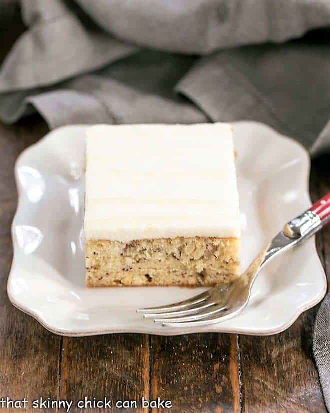 Sour Cream Banana Cake on square ceramic plate