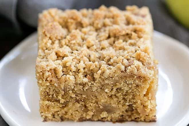 Apple Streusel Coffee Cake on a white ceramic plate