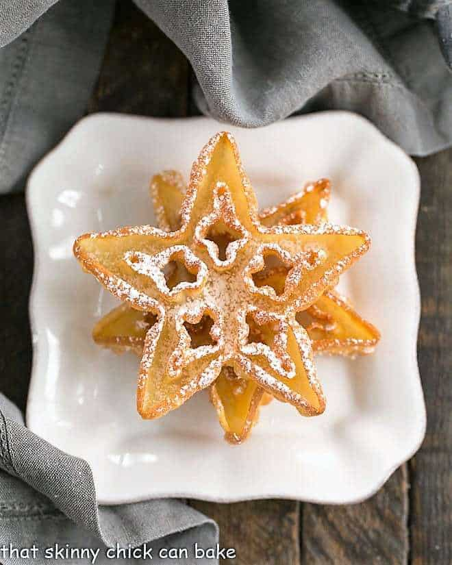 Two rosettes on a square white plate