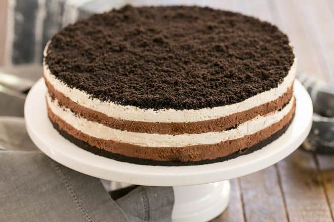 Layered Chocolate Cream Torte on a white cake plate