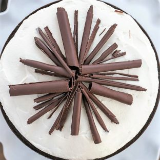 Top view of Triple Layer Chocolate Cake