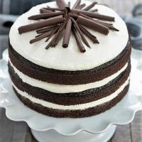 Triple Chocolate Layer Cake on a white cake stand