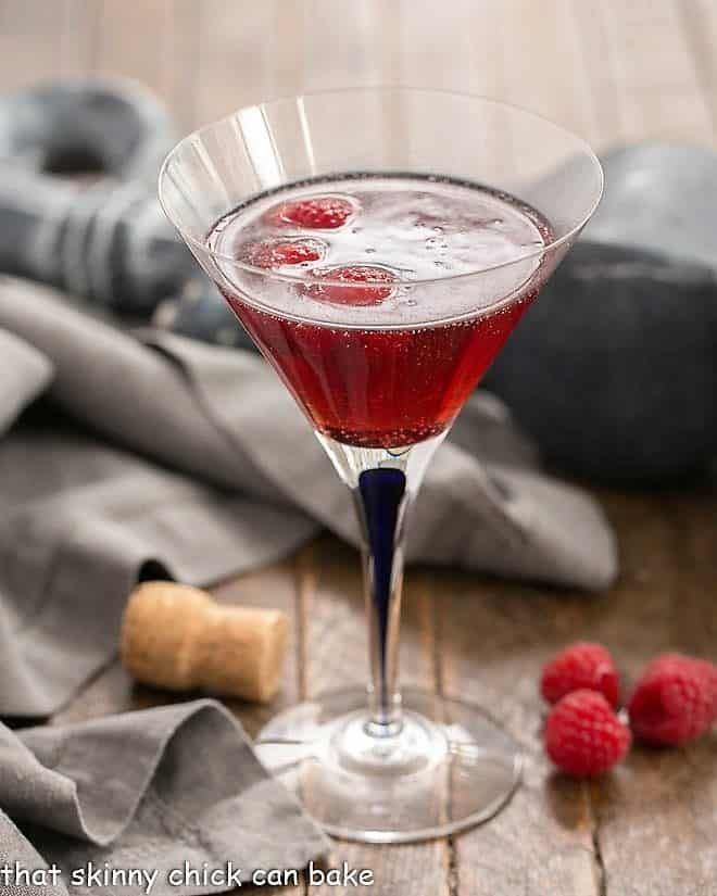 Classic Kir Royale with Cassis in a blue stem martini glass