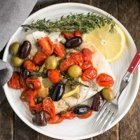 Overhead View of Mediterranean Sea Bass on a dinner plate