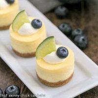 Mini Margarita Cheesecakes on a white tray