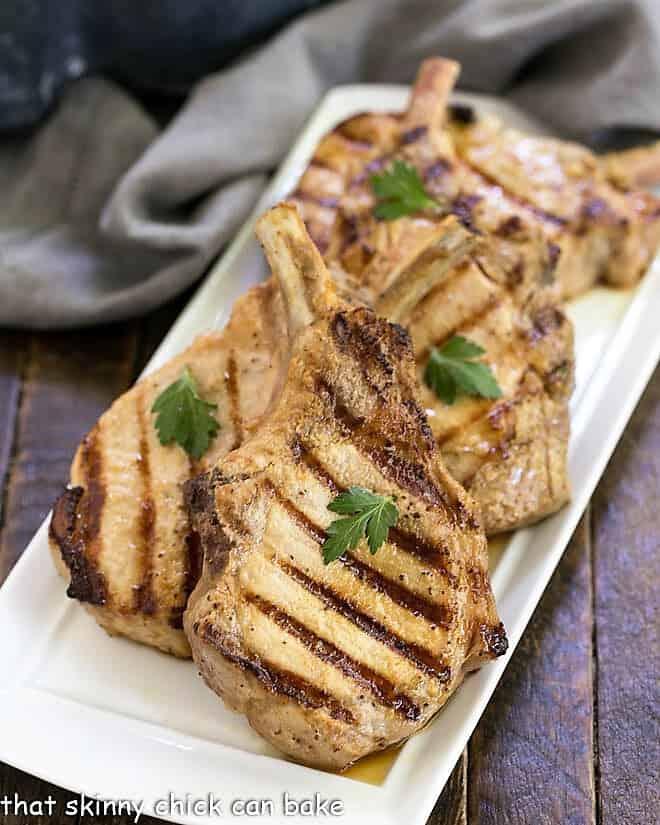 Platter of grilled marinated pork chops